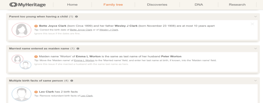 find errors in your family tree