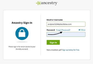 Ancestry sign in Support
