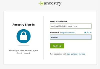 Not able to sign into Ancestry