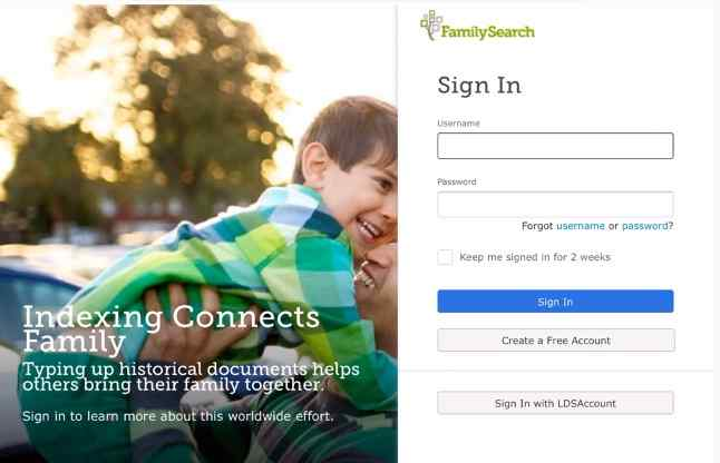 familysearch sign page